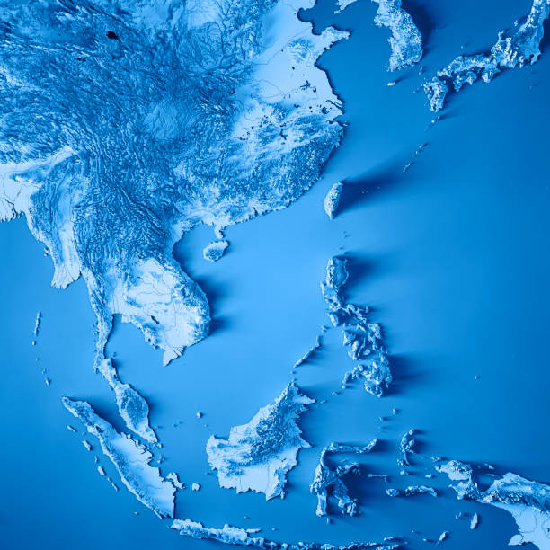 East Asia 3D Render Topographic Map Blue stock photo