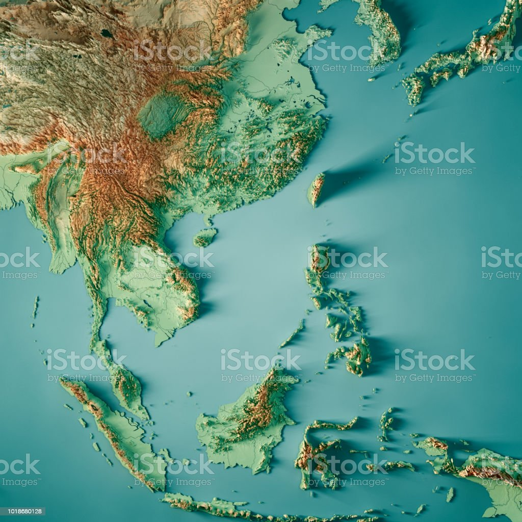 Topographic Map Asia.East Asia 3d Render Topographic Map Color Stock Photo More