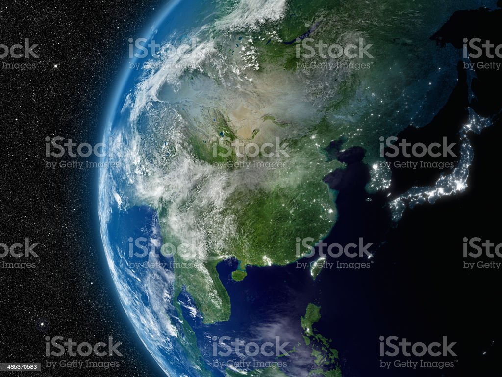 East Asia from space stock photo