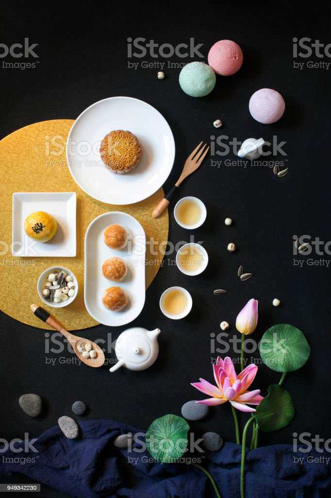 East asian afternoon tea food and drink still life. stock photo