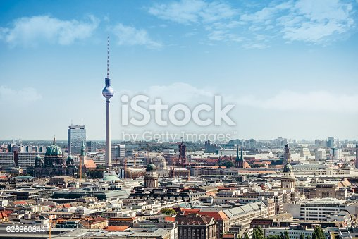 east berlin cityscape with television tower and cathedral under blue sky