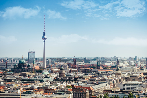 east berlin cityscape with television tower and cathedral