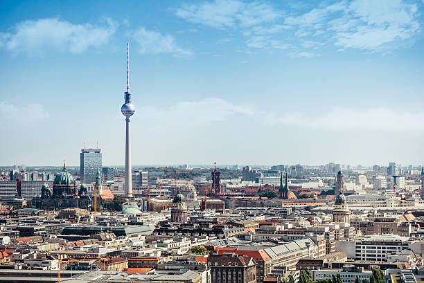 east berlin cityscape with television tower and cathedral east berlin cityscape with television tower and cathedral under blue sky berlin stock pictures, royalty-free photos & images