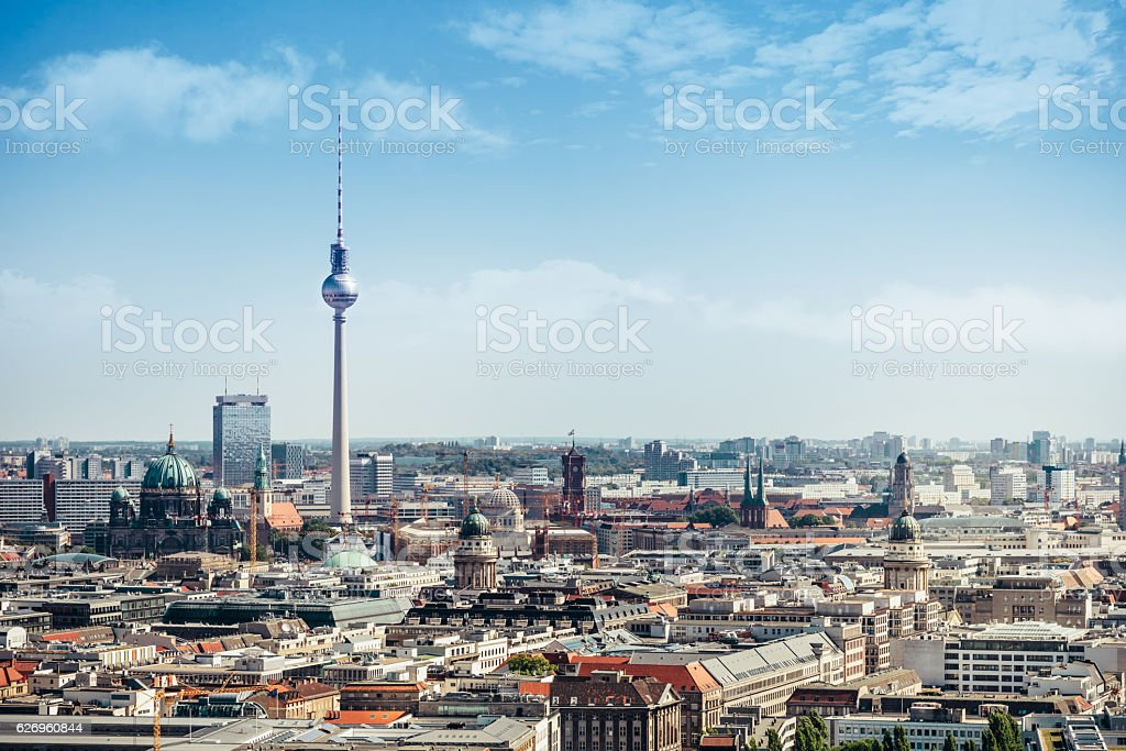 east berlin cityscape with television tower and cathedral stock photo