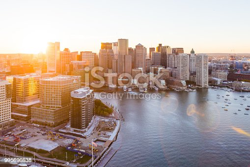 Aerial photograph of the East Boston Waterfront at Sunset.