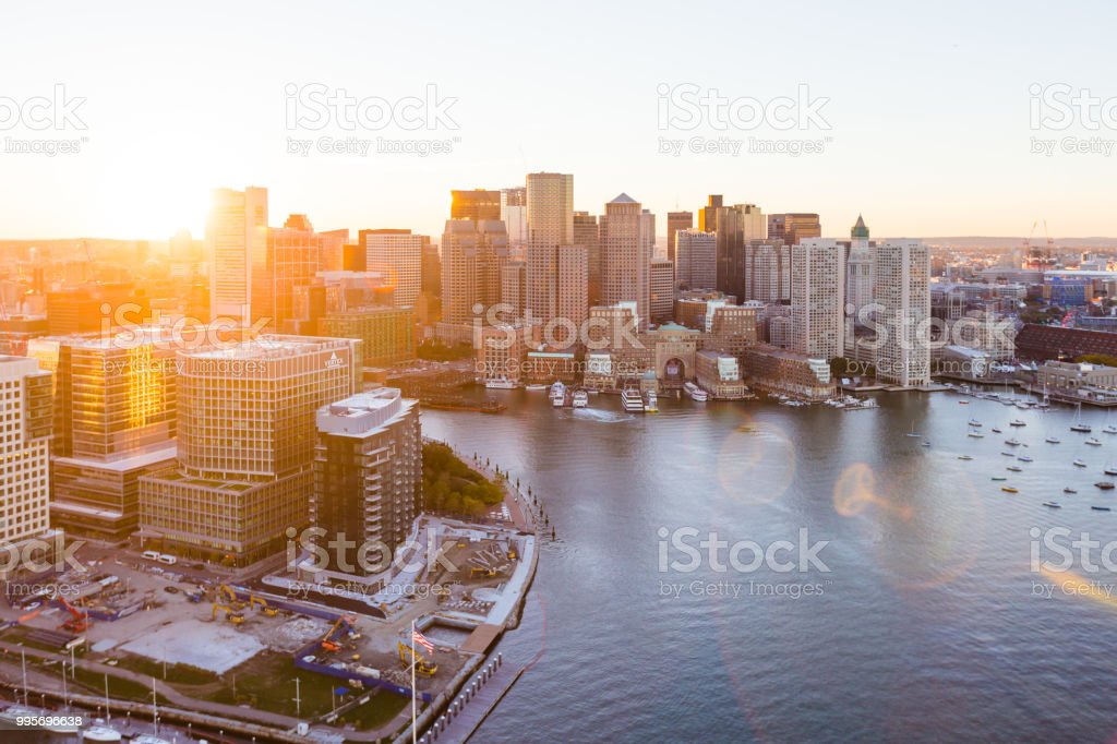 East Boston Waterfront Aerial Sunset stock photo