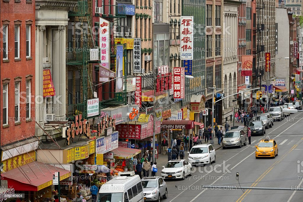 East Broadway in Chinatown as seen from the Manhattan Bridge royalty-free stock photo