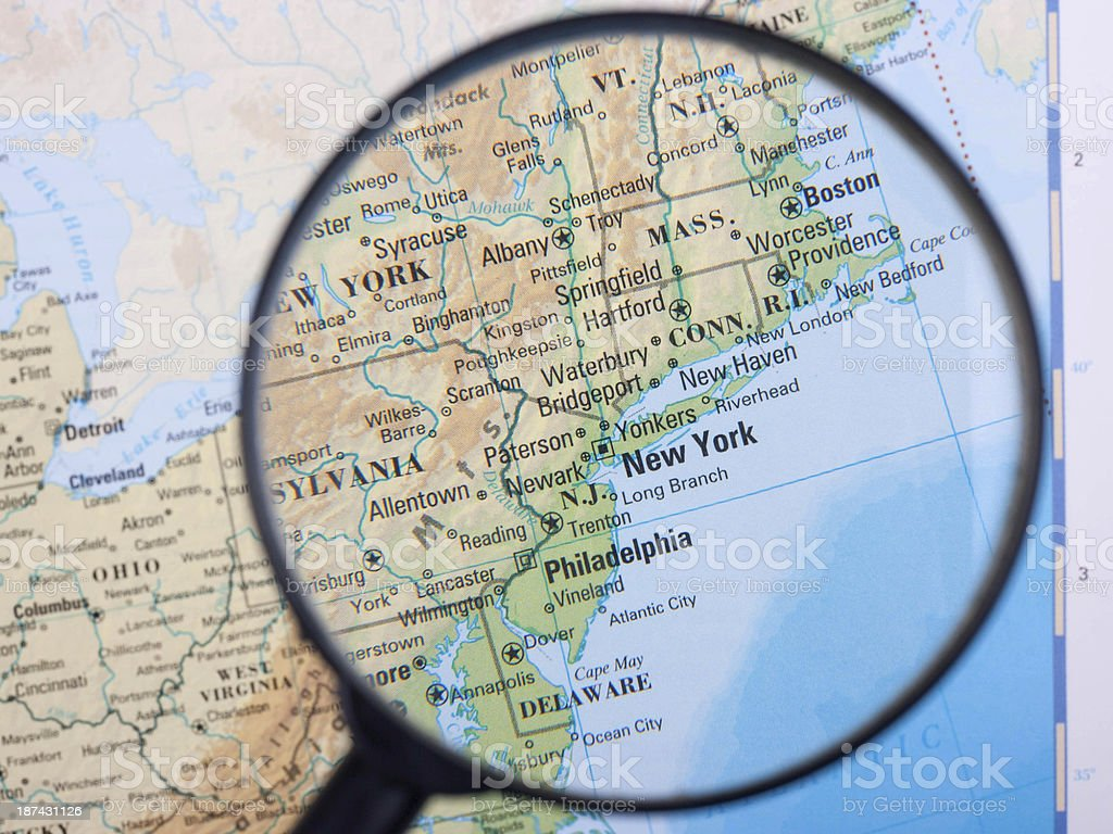 East Coast under loupe stock photo