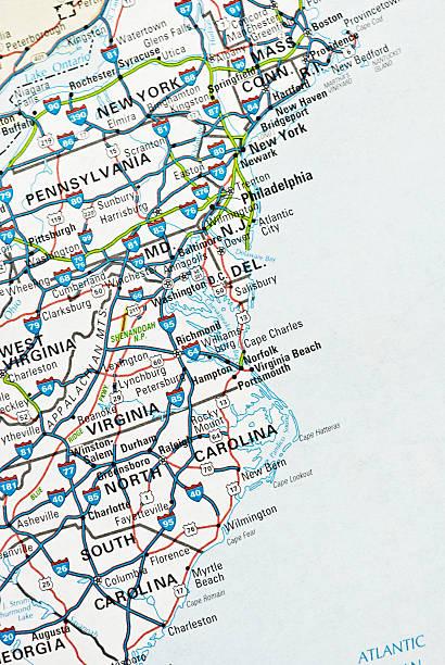 ostküste usa - karten de stock-fotos und bilder