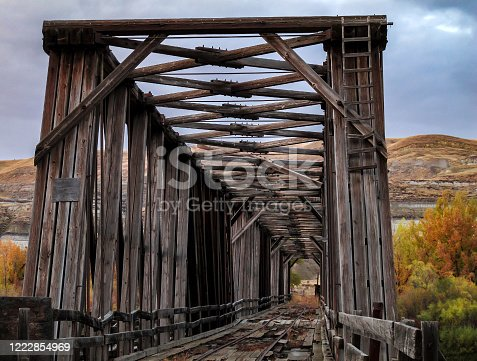East Coulee Truss Bridge over the Red Deer River in southern Alberta near Drumheller, originally built in the 1930s.