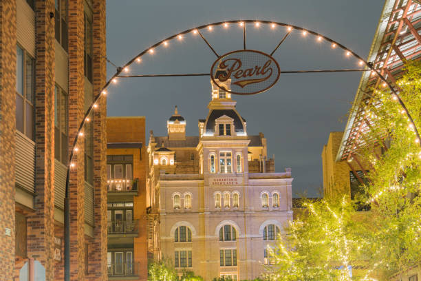 East Entrance to the Pearl Brewery at Night stock photo