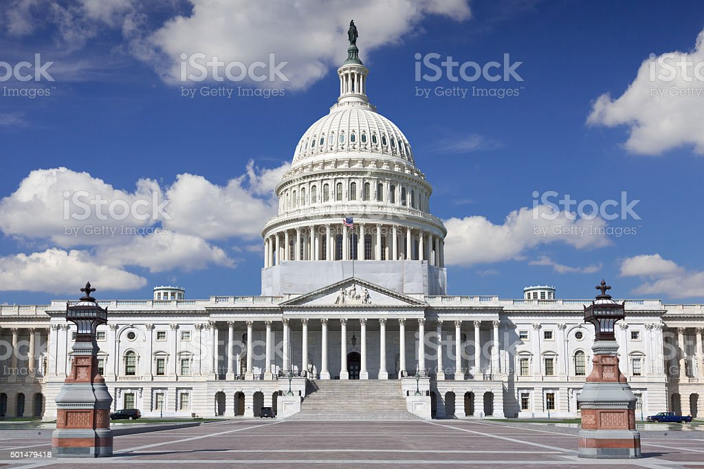 East facade of the US Capitol Building,  Washington DC, USA. stock photo