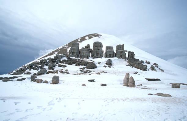East face of Mount Nemrut in winter, Turkey stock photo
