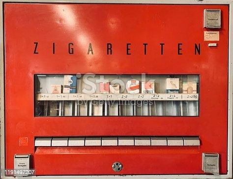 East german vintage:  red cigarettes vending machine