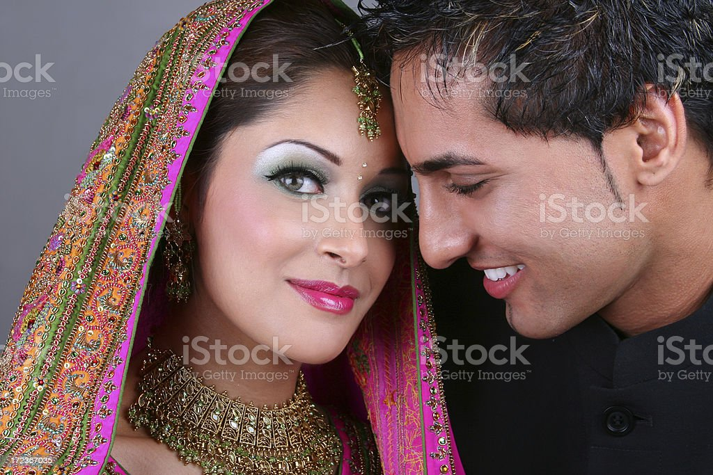 East Indian Bride and Groom stock photo