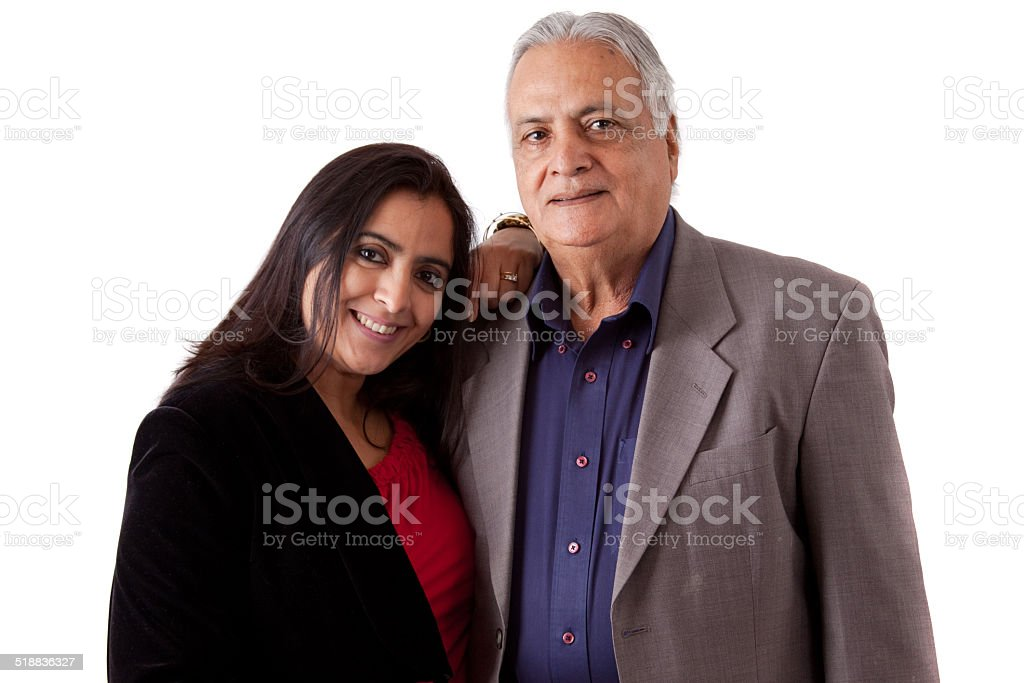 East Indian Father and Daughter stock photo