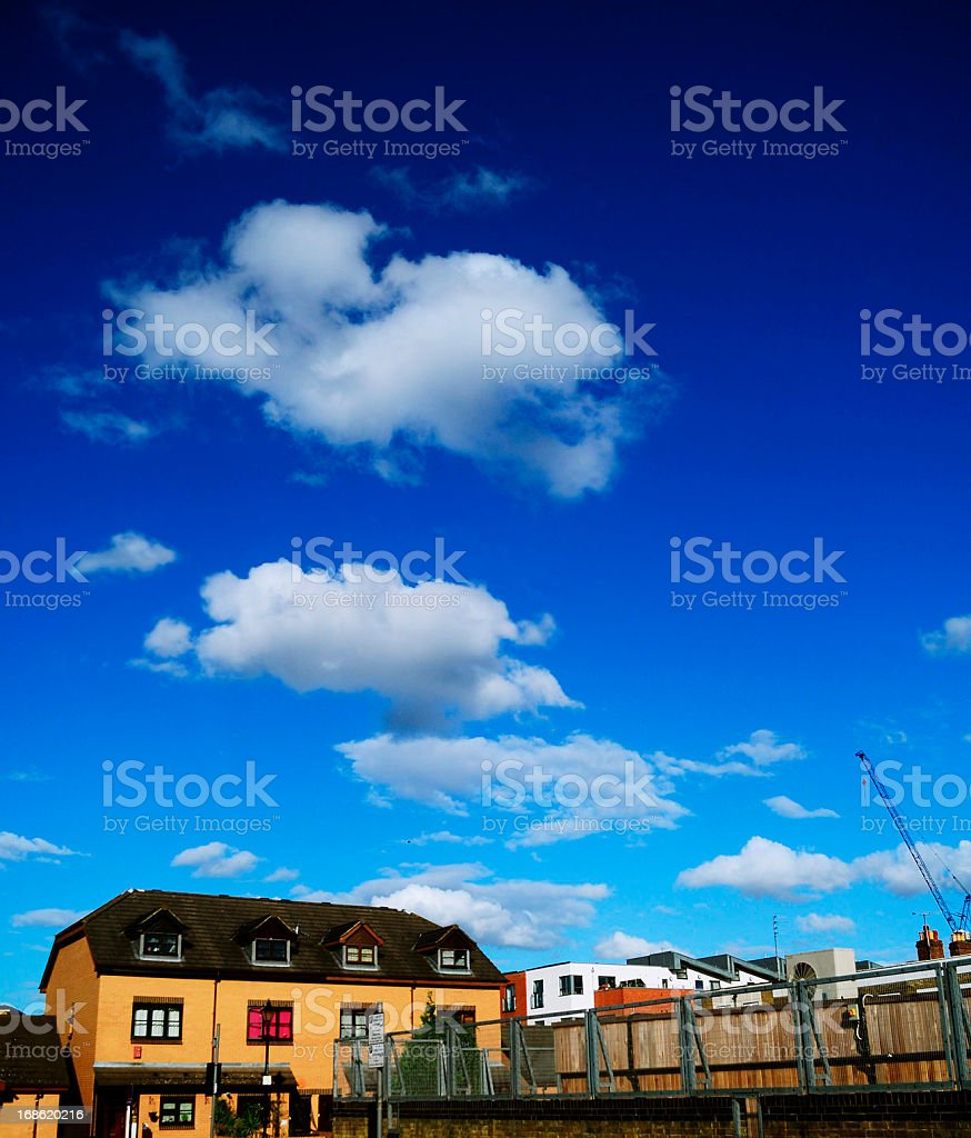 east London homestead and blue sky royalty-free stock photo