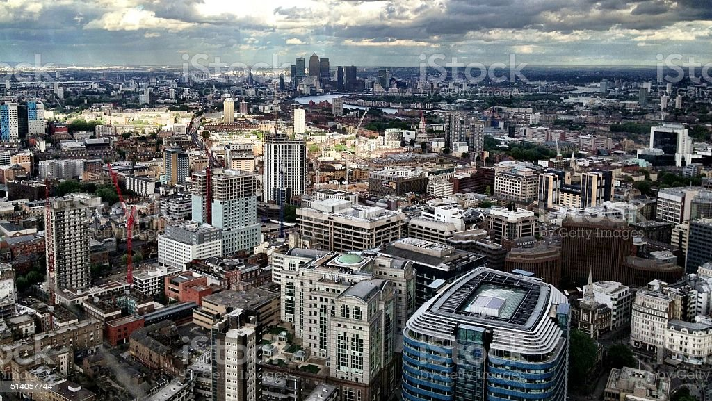 East London skyline in July 2013 stock photo