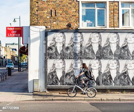 istock East London street corner with Kate Moss on billboard advertisement 847702958