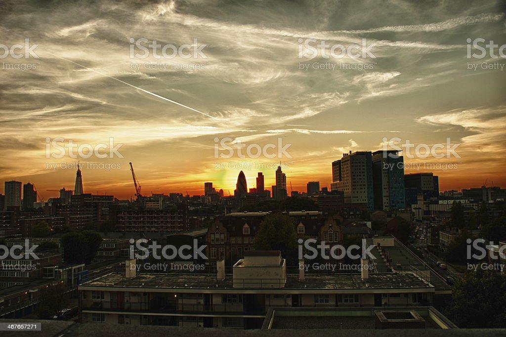 East London Sunrise stock photo