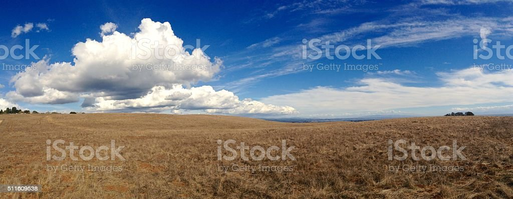 East Meadow and Clouds at UC Santa Cruz stock photo