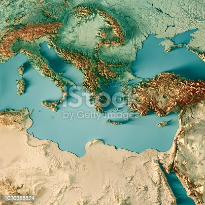 3D Render of a Topographic Map of the Eastern Mediterranean Sea region. All source data is in the public domain. Color texture and Rivers: Made with Natural Earth.  http://www.naturalearthdata.com/downloads/10m-raster-data/10m-cross-blend-hypso/ http://www.naturalearthdata.com/downloads/10m-physical-vectors/ Relief texture: SRTM data courtesy of USGS. URL of source image:  https://e4ftl01.cr.usgs.gov//MODV6_Dal_D/SRTM/SRTMGL1.003/2000.02.11/ Water texture: HIU World Water Body Limits: http://geonode.state.gov/layers/?limit=100&offset=0&title__icontains=World%20Water%20Body%20Limits%20Detailed%202017Mar30