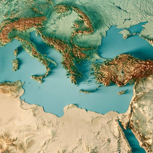 east mediterranean sea 3d render topographic map color - mar mediterraneo foto e immagini stock