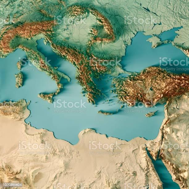 동 지중해 3d 렌더링 지형 지도 색상 0명에 대한 스톡 사진 및 기타 이미지