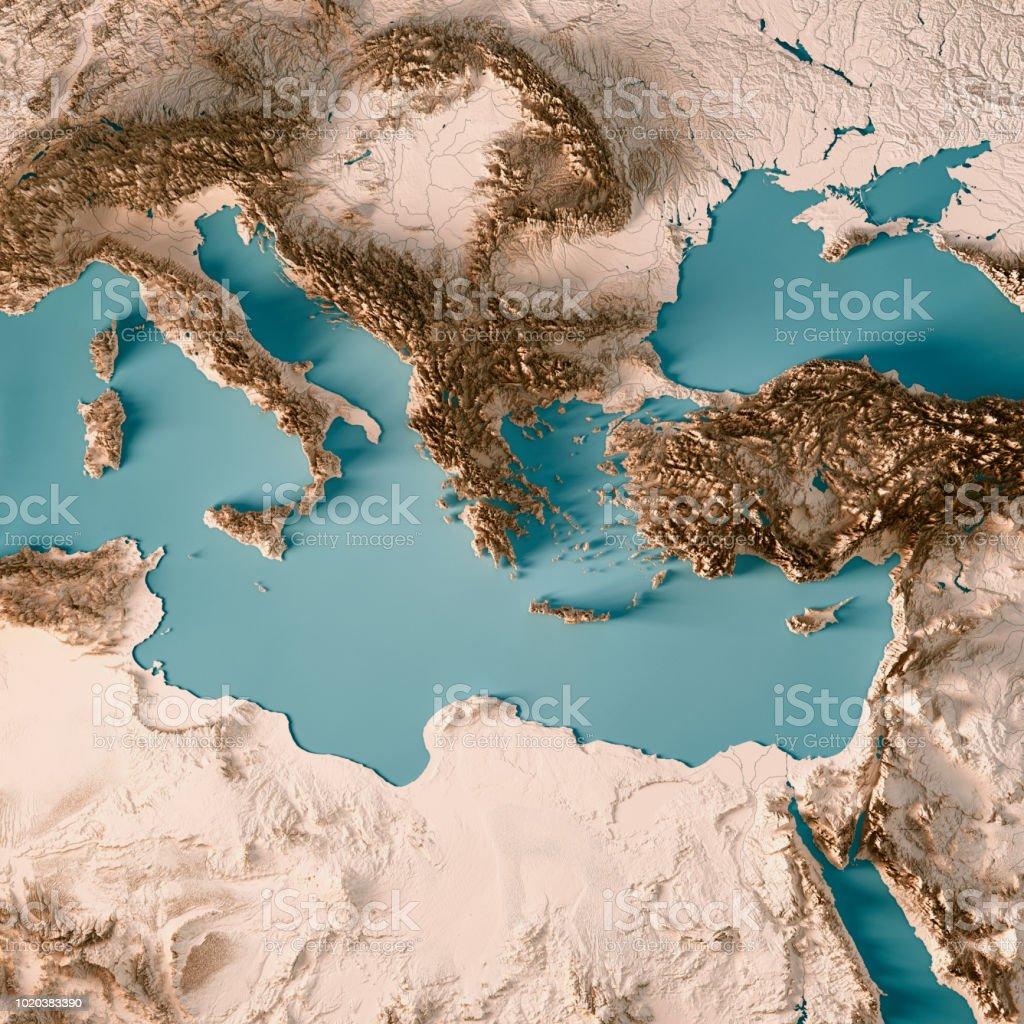 Östlichen Mittelmeer 3D-Render Topographische Karte Neutral – Foto