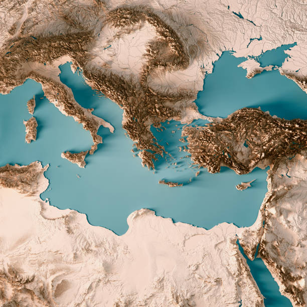 East Mediterranean Sea 3D Render Topographic Map Neutral stock photo