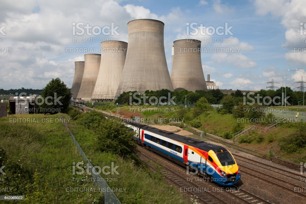 East Midlands Train Passed Ratcliffe-on-Soar power station stock photo