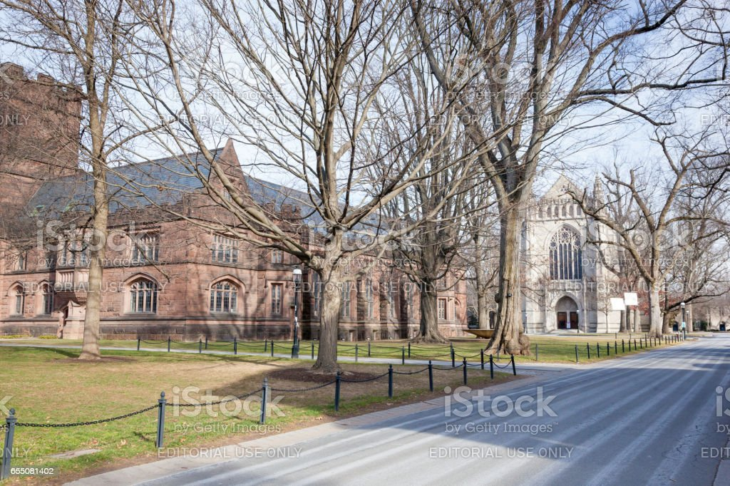 East Pyne Hall and the chapel at Princeton University stock photo