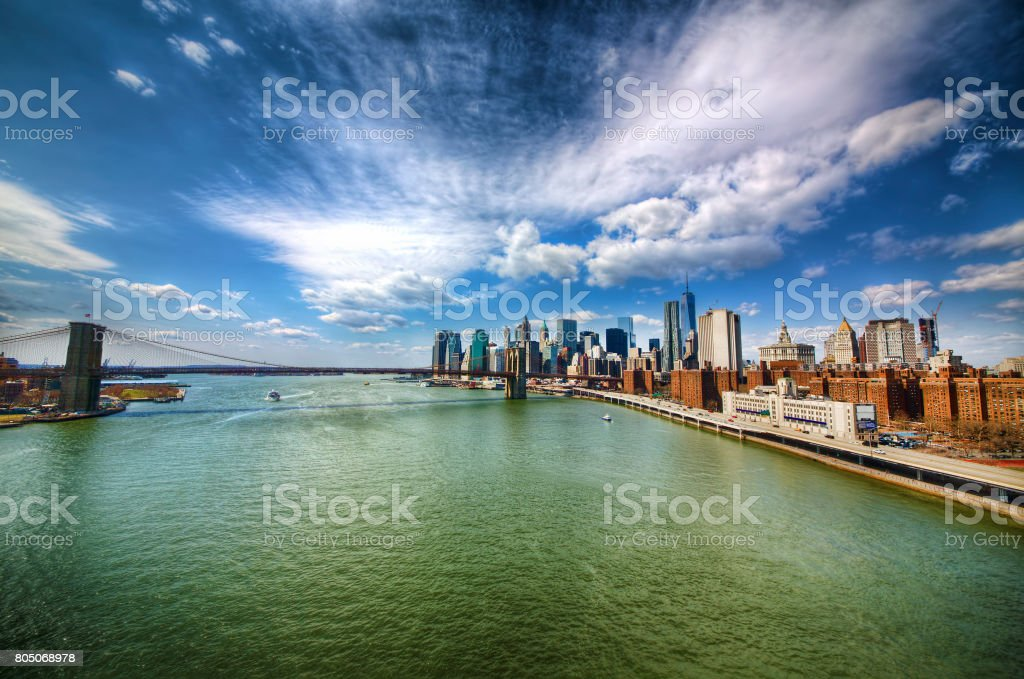 East River, Brooklyn Bridge, and Financial District, New York stock photo