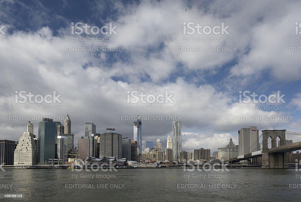 East River, Brooklyn Bridge and Manhattan in New York City stock photo
