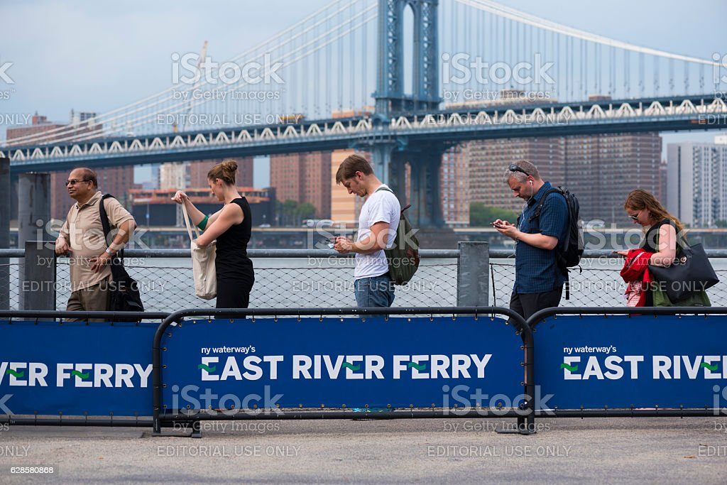 East River Ferry stop in Brooklyn, New York City stock photo