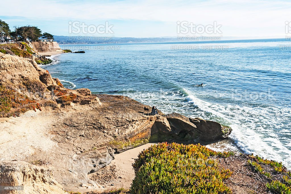 East Santa Cruz cliffs woman and dog with surfer stock photo