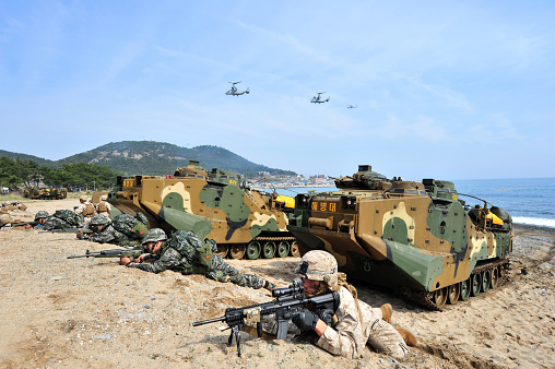 istock 2014, East Sea Coast at the Ssangnyong exercise in Pohang, South Korea, ROK marine corps and U.S. Marine Corps 951017850