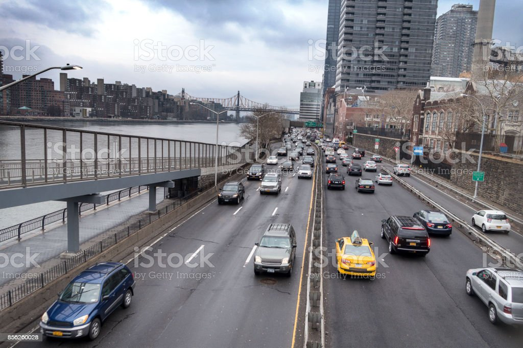 NYC east side highway stock photo