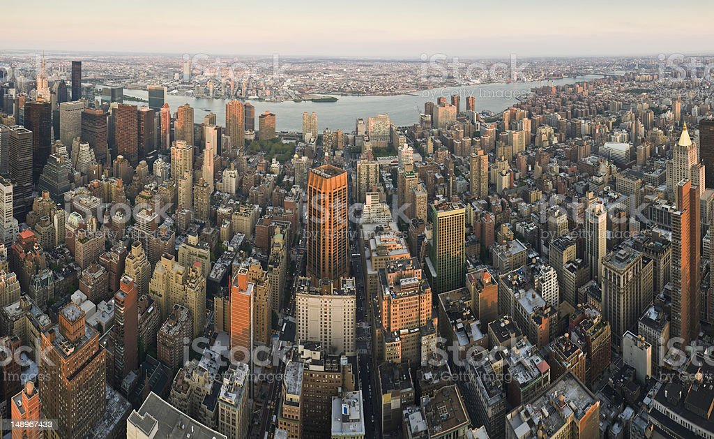 East Side sunset Manhattan golden towers stock photo