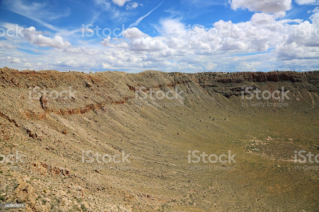 East slope of meteor crater stock photo