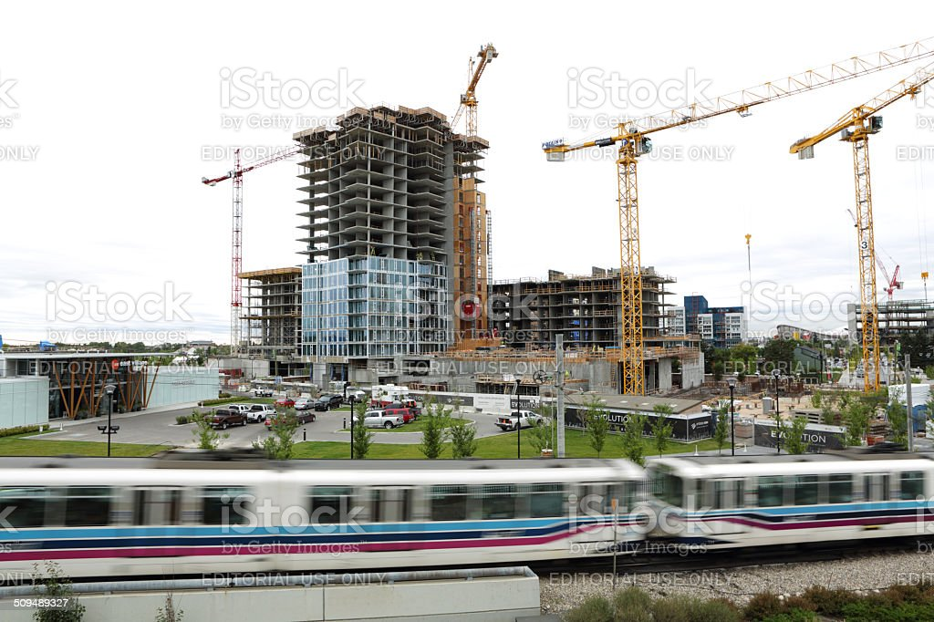 East Village Construction In Calgary Stock Photo - Download Image