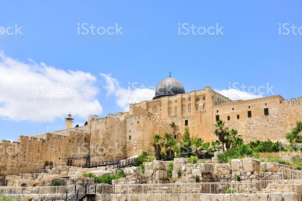 East Wall of Old Jerusalem city. stock photo