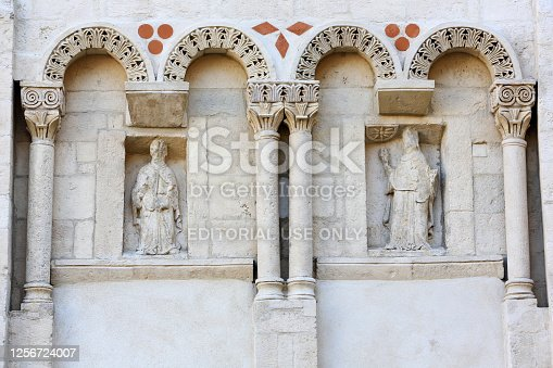 Europe. France. Auvergne-Rhône-Alpes. Rhône. Lyon. 08/26/2016. This colorful image depicts East wall of the Manécanterie. Western facade. Cathedral of St. John the Baptist and St. Stephen.