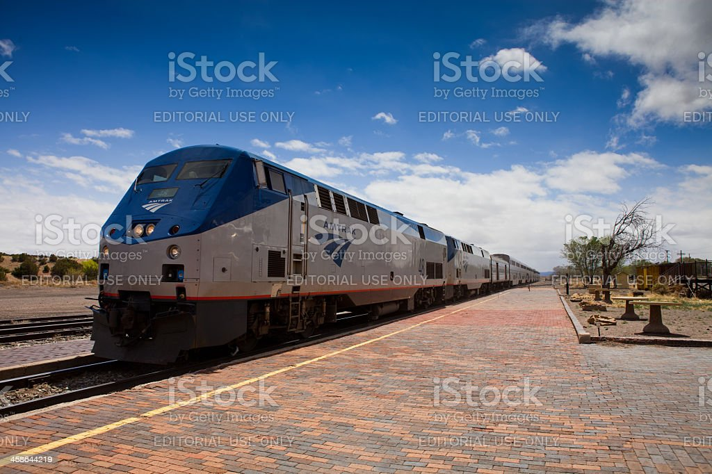 Eastbound Amtrak Southwest Chief at Lamy, New Mexico stock photo