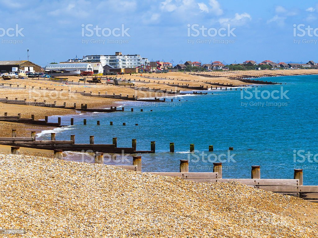 Eastbourne beach at English chanel, United Kingdom stock photo