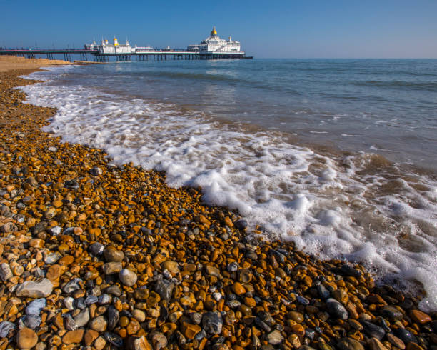 Eastbourne Pier in Eastbourne, Sussex, UK stock photo