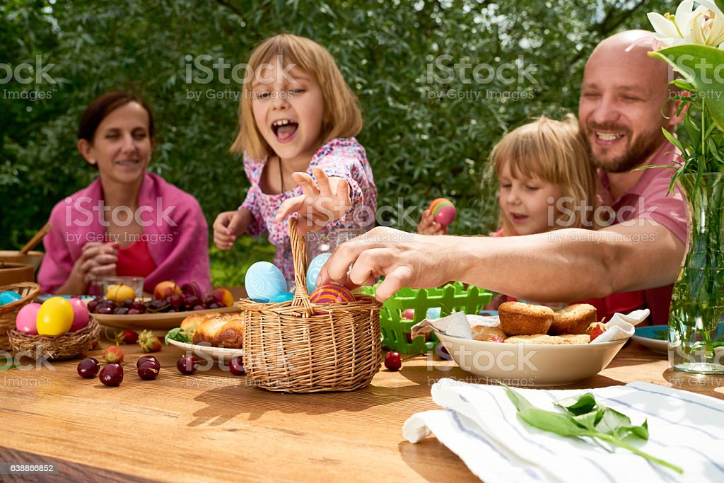 Easter activity for family stock photo