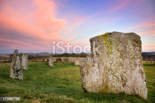 A winter day at a recumbent prehistoric stone circle in Aberdeenshire, Scotland, just after sunset.The Easter Aquhorthies Stone Circle was placed here some 4,500 years ago.