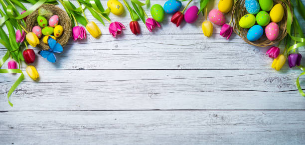easter background. colorful spring tulips with butterflies and painted eggs - buona pasqua in tedesco foto e immagini stock