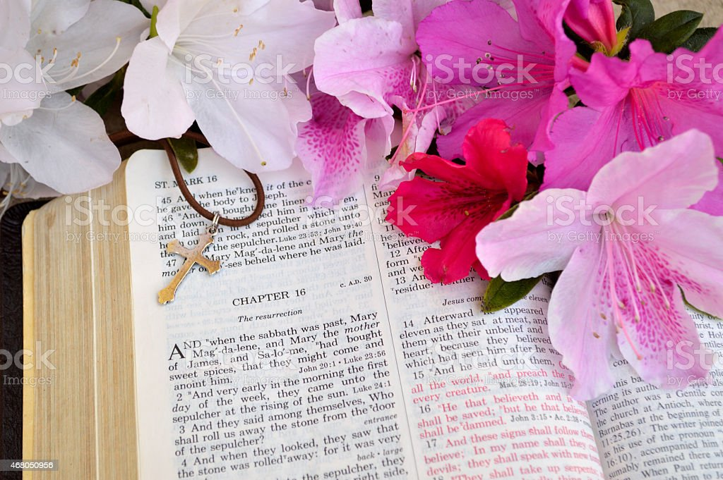 Easter background in bright pink and white stock photo